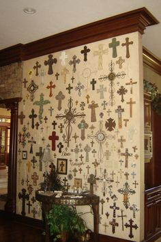 I like this one because it's a small wall, but the way the crosses are arranged, it looks like wallpaper. @Momma Cronan