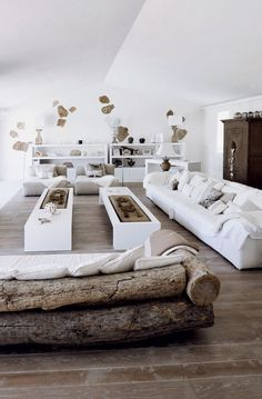COUCH aus Holzstämmen ♂ neutral interior design home living room area family in Sardinia island.old reclaimed wood, white every where, concrete on floors, few stones on walls and stunning sightseeing from each window.