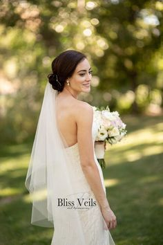 Don't say your wedding vows without a stunning bridal veil from Bliss Veils. This soft 2 tier drop wedding veil is available in a range of colors and lengths to provide that elegant final touch to your bridal gown. Best Wedding Dresses, Wedding Veils, Wedding Attire, Wedding Hair, Wedding Stuff, Wedding Gifts, Lace Wedding, Dream Wedding, Veil Length