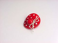 Vintage Bakelite Hat Brooch Polka Dot Red & White With Bow Art Deco Catalin Pin Costume Jewelry 1930's by Kissisjustakiss on Etsy