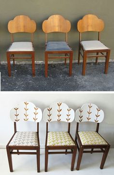 Skinny Laminx's refurbish of 3 chairs, her fabric and stencil...gorgeous.