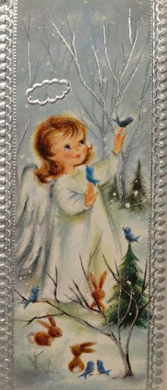 145 60s Sweet Girl Angel in The Woods Birds Animals Vtg Christmas Card Greeting | eBay