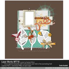 Layer Works 716 layered scrapbook page sketch perfect for your fall photos in PSD and PNG file formats #designerdigitals