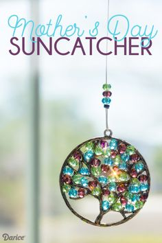 How to make a handmade Mother's Day Suncatcher with custom birthstone beads to represent each child! Crafts Handmade Mother's Day Suncatcher - Tried & True Creative Summer Crafts, Fun Crafts, Diy And Crafts, Crafts For Kids, Craft Ideas For Adults, Summer Diy, Craft Projects For Adults, Beach Crafts, Dreamcatchers