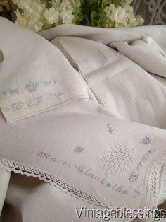 c1700-1800 Early Linen Sheet Maria Elizabetha WARNER Family Antique Textile www.Vintageblessings.com