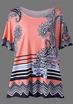 Plus Size Floral Side Slit T-Shirt