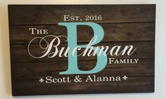 Personalized Custom Family Name Sign Monogram - Rustic Wood Sign or Canvas Wall Hanging - Wedding, Anniversary Gift, Housewarming by HeartlandSigns on Etsy Last Name Signs, Family Name Signs, Family Wood Signs, Last Name Wood Sign, Family Names, Rustic Wood Signs, Wooden Signs, Wooden Decor, Rustic Decor