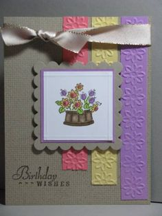 Stamps: SU Bitty Bouquet, Inka clear set (sentiment), SU Aida background Paper: SU kraft, Orchid Opulence, So Saffron, Caeo Coral Ink: Adirondack Espresso, Copics Accessories: Nestabilities, Cuttlebug flower folder