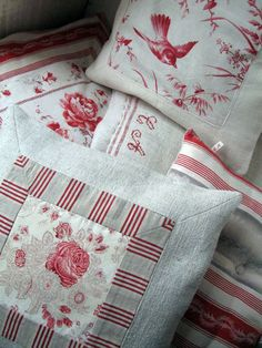 pillows made with an assortment of antique linen pieces   Living Vintage