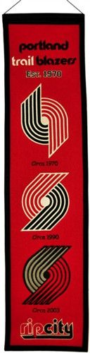 Portland Trailblazers Winning Streak Heritage Banner - Banner is 8x32 and depicts the evolution of Blazers logos with circa dates - Embroidery and applique detail on wool blend felt