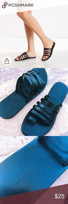 """UO Sandals Urban Outfitters """"Val Slide"""" sandals in black. Worn once. Size 8 but they run VERY small!!!!! Would fit 7-7.5. (I am a size 7.5 and they are ALMOST too small). Urban Outfitters Shoes Sandals"""