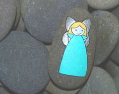 Hand Painted Little Green Angel on a Stone Pebble