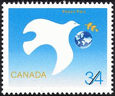 Canadian Postal Archives Database    Postal Administration: Canada     Title: Peace     Denomination: 34¢     Date of Issue: 16 September 1986