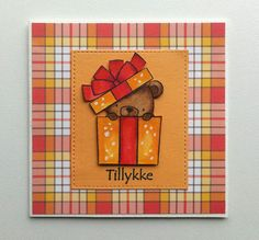Card tag with bear gift critters MFT Beary Special Birthday Die-namics #mftstamps, Lawn Fawn Perfectly Plaid paper  - JKE