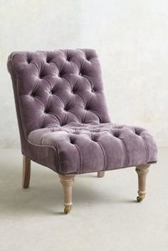 Velvet Orianna Slipper Chair from Anthropologie. We'd glam up a family room or living room with this gorgeous velvet chair. Style At Home, Home Furniture, Furniture Design, Furniture Chairs, Handmade Furniture, Velvet Furniture, Unique Furniture, Chair Design, Take A Seat