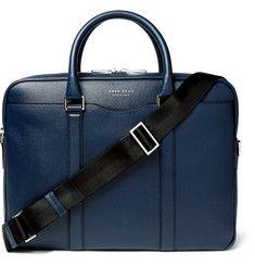 Hugo Boss Signature Slim Grained-Leather Briefcase