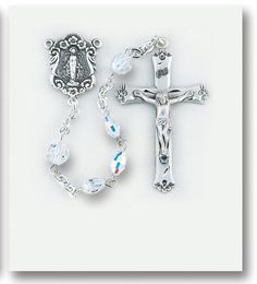"""5x7mm Aurora Oval Swarovski Crystal Beads with Sterling Silver Miraculous Center and 1 11/16"""" Sterling Crucifix. Includes a Deluxe Velour Gift Box."""