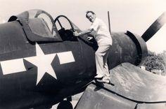 "USMC F-4U Corsair with legendary Greg ""Pappy"" Boyington"