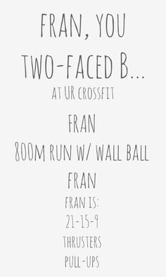 Fran you two faced b crossfit WOD for 50 states in a year