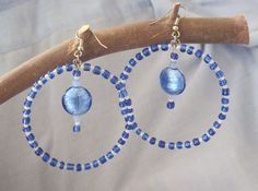 Blue metallic and white iridescent beaded Boho by MadeADiff2That1, $11.25