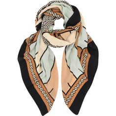 A Peace Treaty Rust Haddad Stripe Silk Scarf ($275) ❤ liked on Polyvore