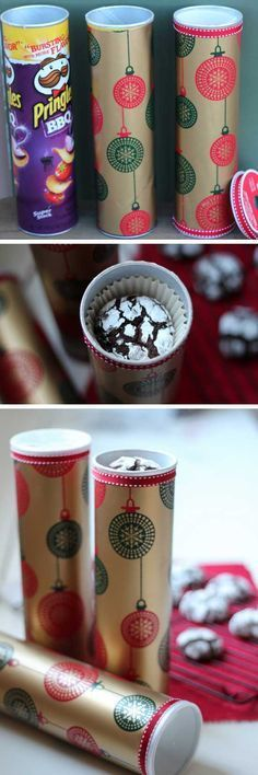 Easy & Simple Christmas Hacks, Tips and Tricks – Holiday Wrapping Ideas Repurposed Pringle Tubes as Gift Wrapping Last Minute Christmas Gifts, Christmas Hacks, Family Christmas Gifts, Christmas Gift Wrapping, Family Gifts, Christmas 2017, Homemade Christmas, Christmas Treats, Christmas Presents