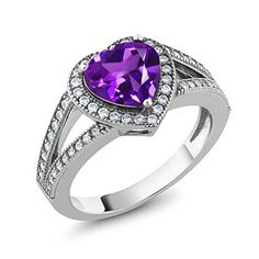 2.11 Ct Heart Shape Natural Purple Amethyst Gemstone Birthstone 925 Sterling Silver Ladies Ring (Available in size 5, 6, 7, 8, 9). CARAT TOTAL WEIGHT - 2.11 CT (This item is proudly custom made in the USA). Crafted in High-Quality Lead Free 925 Sterling Silver that delivers exceptional shine and ultimate protection. MEASUREMENT - Center Stone: 8MM, 100% Natural Purple Amethyst Ring (All the sizes displayed are in stock) Crafted in 925 Sterling Silver. This beautiful design jewelry is unique…