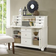 Sullivan Secretary Desk- White - Free Shipping Today - Overstock.com - 22396742