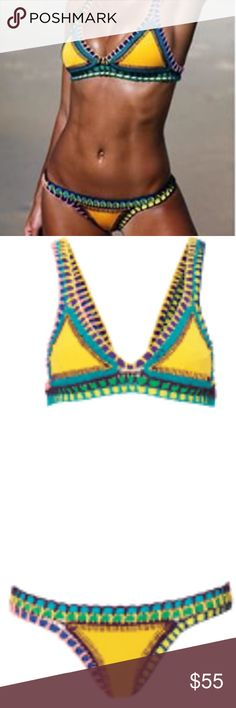 Women's Neoprene - Crochet Kiini Style Set Kiini Style Two Piece Bikini Set   ❥ Brand new w/ tags ❥ Neoprene material w/ crochet lining ❥ Great quality  ❥ Colors Available ; Yellow ❥ Brand Tagged For Style Reference  ❥ Use Offer Button For Price Negotiations  ❥ Size small acacia swimwear Swim Bikinis