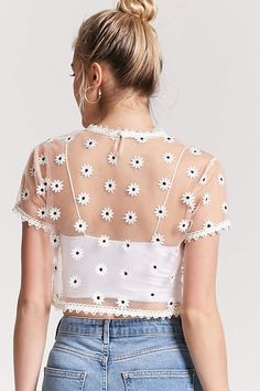 Product Name:Sheer Mesh Floral Crop Top, Category:top_blouses, Cute Casual Outfits, Cute Summer Outfits, Pretty Outfits, Look Fashion, Fashion Beauty, Girl Fashion, Festival Outfits, Tumblr Outfits, Ideias Fashion