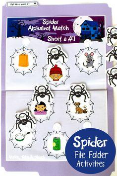 cvc words spider file folder games for halloween