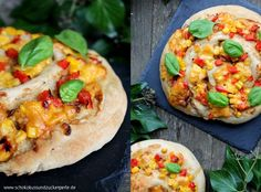 Leckeres Rezept für BBQ-Pizzaschnecken: Fluffiger Hefeteig mit Barbecuesoße, Hähnchenfleisch, Mais, Paprika, Cheddarkäse und frischem Basilikum.