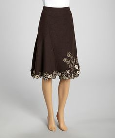 Take a look at this Brown Embroidered Wool-Blend Skirt by Artful Ensembles: Women's Apparel on @zulily today!