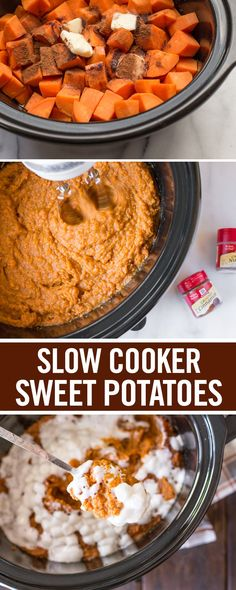 Rich, creamy sweet potatoes loaded with mini marshmallow topping? Count us in! From cooking to mashing to seasoning with cinnamon and nutmeg, this slow cooker reicpe is a perfect thanksgiving side dish. Sprinkle mixture with mini marshmallows and make room at this year's holiday dinner.