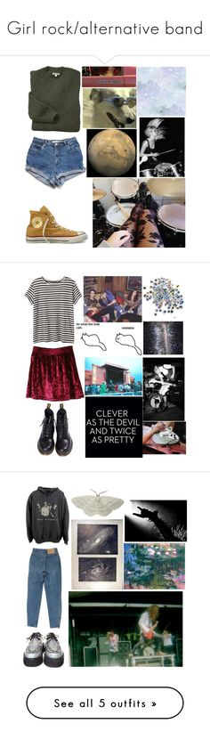 """""""Girl rock/alternative band"""" by llamapoop ❤ liked on Polyvore featuring Barbour, Converse, Proenza Schouler, Dr. Martens, Triskaidekaphobia, American Apparel, River Island, Vagabond, JanSport and KEEP ME"""