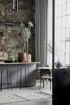 A Bright Industrial Loft Decorated With House Doctor's Spring/Summer Collection - The Nordroom House Doctor, Scandinavian Loft, Steel Frame Doors, New York Loft, Loft Kitchen, Brick Loft, Exposed Brick Walls, Loft House, Eclectic Design