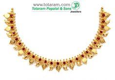 22K Gold 'Lakshmi Kasu ' Mango Necklace