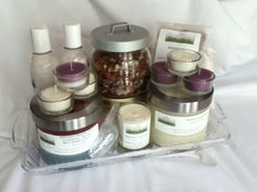 Large Gift Set ~ Set includes 2 soy candles, 1 bath soak, 1 body scrub, 2 body lotions,1 bath tea, 6 tealights, 2 air fresheners w/bowl, 1 plastic scoop, 1 tray, Zhi brochure