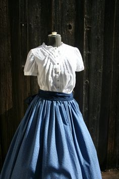 Victorian skirt with sash also for Civil War by heartsandhome, $40.00