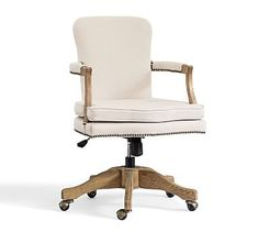Brock Upholstered Swivel Desk Chair -- possible to diy to our swivel chair?