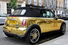 Mini Cabriolet. Wrapped in reflective #Gold wrap. We can offer reflective finishes too, at #Reforma