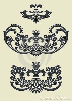 Set Of Vector Baroque Patterns For Design