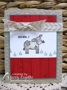It's Create With Connie and Mary Thursday Challenge time! Kids Cards, Baby Cards, Cow Clipart, Craft Sites, Card Tricks, Stampin Up Catalog, Scrapbook Cards, Scrapbooking, Animal Cards