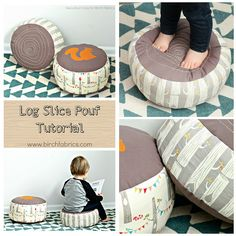 Sewing Pillows Log Slice Pouf Tutorial - a fun woodland themed sewing pattern! Perfect to sew for a nursery or playroom. - A DIY kids pouf sewing tutorial. How to make a faux bois log slice pillow, perfect handmade pillow for a playroom. Easy Sewing Projects, Sewing Projects For Beginners, Sewing Hacks, Sewing Tutorials, Sewing Tips, Free Tutorials, Sewing For Kids, Baby Sewing, Diy For Kids