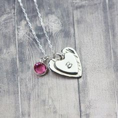 Handmade Argentium Sterling Silver #heartpendant, custom monogram, personalized heart necklace, #engraved #heart jewelry, hand stamped by InspiredByBronx on Etsy https://www.etsy.com/listing/454855710/handmade-argentium-sterling-silver-heart