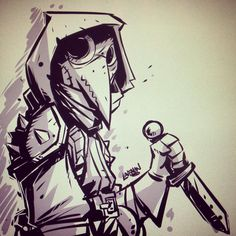 The Art of Derek Laufman — Quick warmup sketch of the Plague Doctor from...