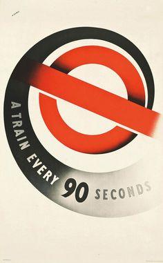 Abram Games, A Train Every 90 Seconds London Underground poster, 1937 Design Logo, Design Poster, Poster Designs, Typography Design, London Underground, Underground Tube, Abram Games, London Transport Museum, Public Transport