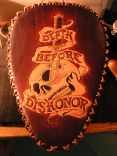 Chancey77 Custom Leather_ Death Before Dishonor Motorcycle seat