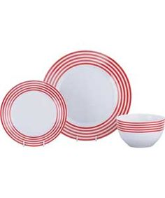ColourMatch Stripe 12 Piece Dinner Set - Poppy Red. Kitchen Trends, Dinner Sets, Red Poppies, Argos, Kitchen Colors, Color Schemes, New Homes, Poppy Red, Plates