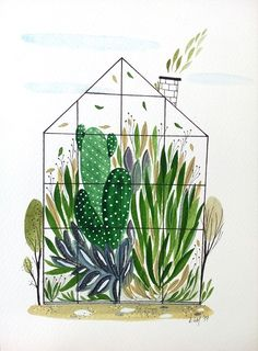 Tropical Wallpaper, Cute Backgrounds, Greenhouses, Book Illustration, Folk Art, Behance, Plant, Watercolor, Gallery